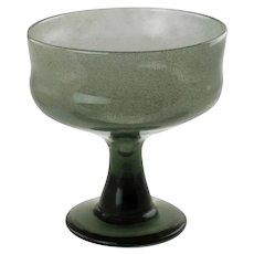 "Vintage Erik Höglund for Boda Glass Smoke Gray Footed Bowl MCM 7.75"" Tall"