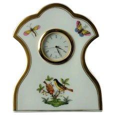 Vintage Herend Gilt Trimmed Porcelain Rothschild Bird Table Clock