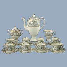 Vintage Wedgwood Florentine Black Bone China Demitasse Set Coffee Pot, Sugar and Creamer with 8 Cups and Saucers