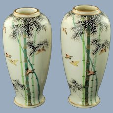 Vintage Japanese Sinto Porcelain Hand Painted Vases Bird and Bamboo Motif