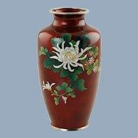 Vintage Sato Japanese Cloisonné Ginbari Pigeon Blood Vase Chrysanthemums Motif