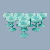 Vintage French PV Portieux Vallerysthal Blue Opaline Champagne Coups Dessert Sherbets Set of 8