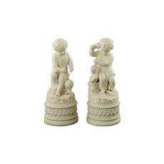 Antique Neoclassical Parian Bisque Porcelain Putti Figures Sculptor and Cartographer