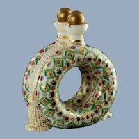 Antique Royal Crown Derby Porcelain Double Flask Ring Form Dual Perfume Bottle
