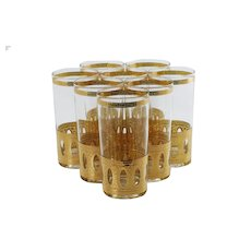 Vintage Signed Culver Gilded Antigua Highball Glasses - Set of Eight