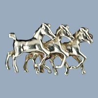 Vintage Victor Mayer Germany Sterling Silver Dimensional Horse Brooch Pin
