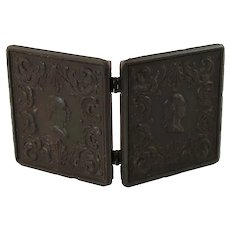 Antique AP Critchlow Profile of George Washington Thermoplastic Union Case with Ambrotype Portraits of Ladies