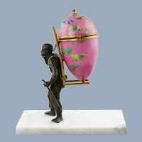 Antique Palais Royal Figural Hand Painted Etui Egg Box Thimble Holder