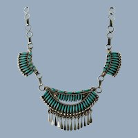 Vintage Ruby Gchachu Zuni Needlepoint Turquoise Sterling Silver Festoon Necklace