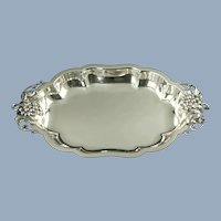 """Vintage Durham Sterling Silver Rectangular Serving Tray with Grape Motif Handles 15.25 by 9.25"""""""