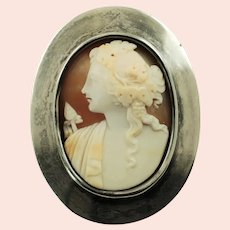 Antique Horton and Allday Sterling Silver Belt Buckle with Carved Shell Bacchante Cameo