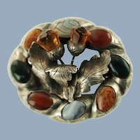 Antique Victorian Cairngorm and Agate Scottish Pebble Double Thistle Motif Brooch Pin