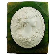 Vintage Green Bakelite Brooch Pin with Celluloid Cameo
