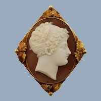 Antique 19th Century Carved Sardonyx Shell Neoclassical Cameo Pendant Brooch in 14K Gold Frame