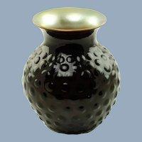 Vintage Lundberg Studios Red and Gold Cased Glass Vase