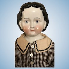"Wonderful Exposed Ear China Head Doll "" Greiner Style"" 25"""
