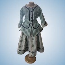 """Two Piece Dress for Antique Doll 30""""-32""""+"""