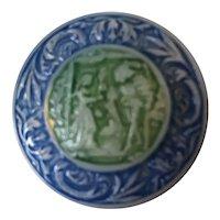 Rare Czech Glass Fairytale Button Pin