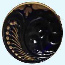 Cobalt Blue/ Gold Glass Luster Pin