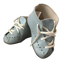 Blue Leather Lace Up Baby Shoes for Doll- Nice Condition