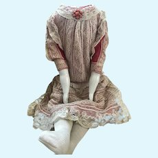 "Wonderful Antique Cloth Doll Body/ 23""/ Antique Dress"
