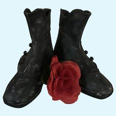 Large Black Leather Shoes for Antique Doll / Bear