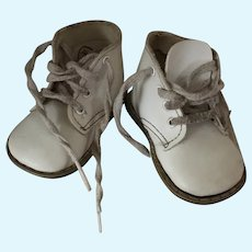 Large Antique Lace Up Baby Shoes For Doll