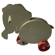 Primitive Handmade Wooden Elephant Toy