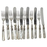 Antique Mother of Pearl and Sterling Knives and Forks, set of 6, WA Rogers