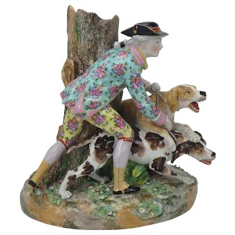 Antique Victorian Porcelain Dogs and Hunter Figurine