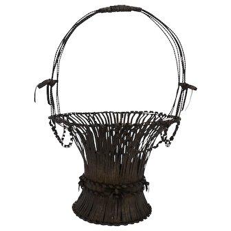 Antique Victorian Wedding Anniversary Tin Basket