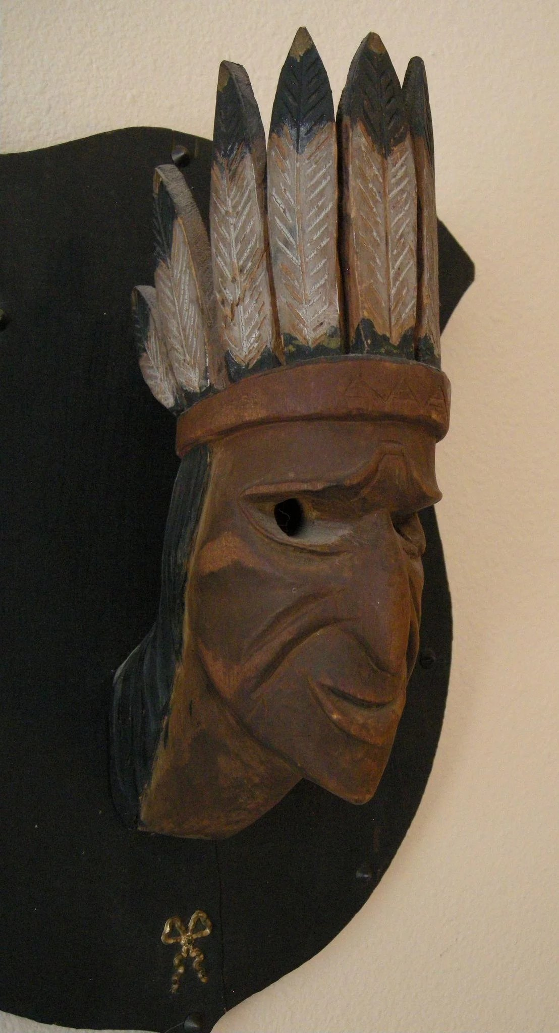 Antique American Indian Chief Hand Carved Wood Cigar