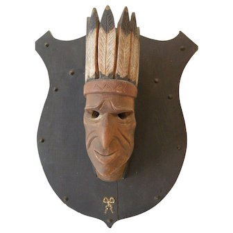 Antique American Indian Chief, Hand-carved Wood Cigar Store Style Folk Art Missouri, 1907