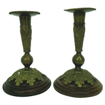 Antique U.S. Cavalry Candlesticks made from Brass Helmet Plume Sockets