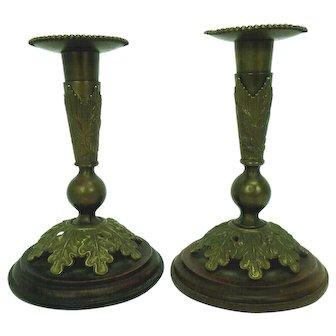Antique U.S. Cavalry Candlesticks made from Brass Helmet Plume Sockets