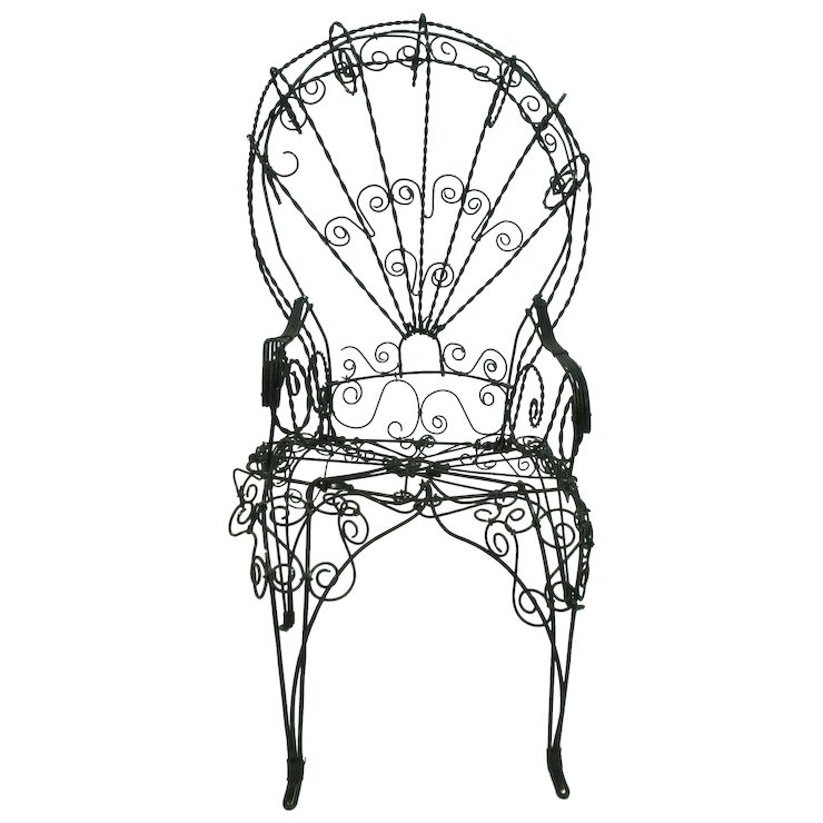 Antique Doll Chair Victorian Wire - Antique Doll Chair Victorian Wire : Opulence & Oddities Ruby Lane