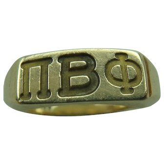 Vintage Pi Beta Phi Sorority 10k Gold Ring size 4.5