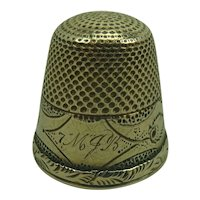 Antique 10k Gold Thimble, monogram MJB