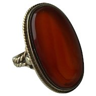 Antique 10k Gold and Agate Ring, size 8 ½
