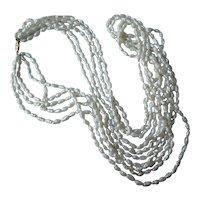 Vintage Freshwater Pearl Necklace 5 Strands 14k Clasp 24 inch