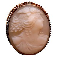 Antique Greco-Roman Cameo Brooch Pendant, 10k gold