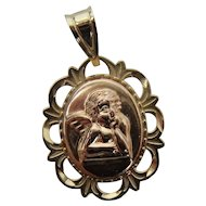 14k Gold Cherub Pendant with Prayer