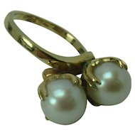 8mm Pearl and 12k Yellow Gold By-pass Mount Ring, size 7