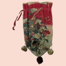 Antique Japanese Block Print Drawstring Purse