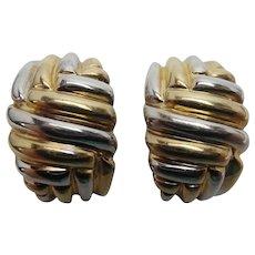 14k Yellow and White Gold Shrimp Earrings, pierced