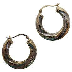 14k Yellow and White Gold Swirl Hoop Earrings, pierced