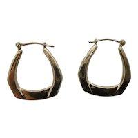 14K Yellow Gold Geometric Hoop Earrings, pierced