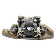 ArtCarved Mid-Century Diamond and 14K Gold Engagement Ring size 6.25