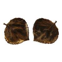 14K Yellow Gold Aspen Leaf Earrings, pierced