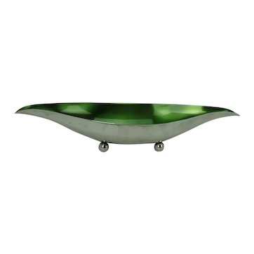 Wallace Mid-Century Silver Plate and Green Enamel Footed Dish